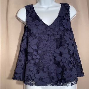 Anthro Maeve Navy Blue Floral Lace Tank Top